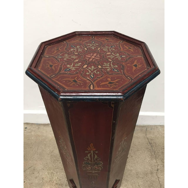 Mid 20th Century Hand-Painted Moroccan Pedestal Table For Sale - Image 5 of 13