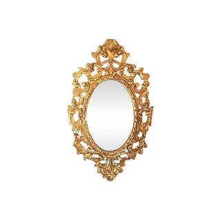 Italian Hand-Carved Water-Gilt Oval Mirror, 1940s
