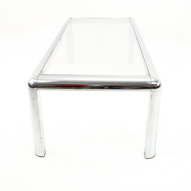 Mid Century Chrome and Glass Coffee Table For Sale - Image 4 of 9