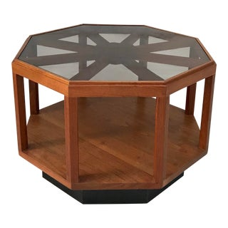 Mid-Century Modern Octagonal Wood and Glass Table For Sale