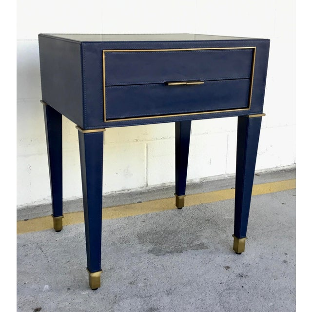 Bungalow 5 Modern Navy Blue Leather and Antique Brass Finish Hunter Two Drawer Side Table For Sale In Atlanta - Image 6 of 6
