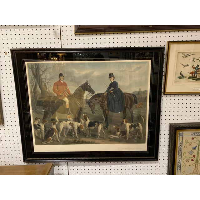 """Late 19th Century 1870s Large English Engraving of """"The Earl and Countess of Coventry,"""" Hunt Scene For Sale - Image 5 of 5"""