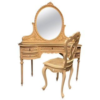 Hollywood Regency Vanity Desk with Mirror and Chair in Swedish Fashion