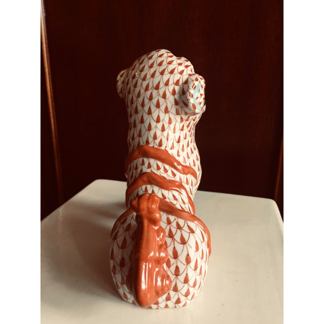 Asian Herend Rust Colored Fishnet Pattern Foo Dog Figurine For Sale - Image 3 of 11