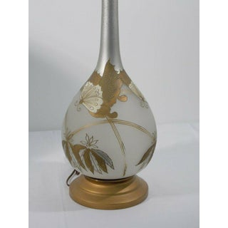 1960s Mid Century Torchiere Lamp With Shade Frosted Glass and Gold Butterflies With Shade Preview