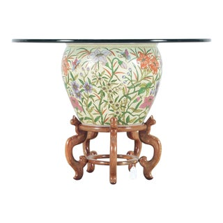 Chinese Style Jardiniere-Base Glass Top Table For Sale