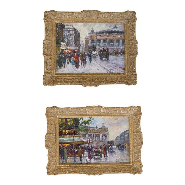 1950s Vintage Francois Gerome Parisian Scene Paintings - A Pair For Sale