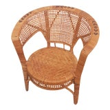 Image of Vintage Mid-Century Modern Boho-Chic Wicker Armchair For Sale