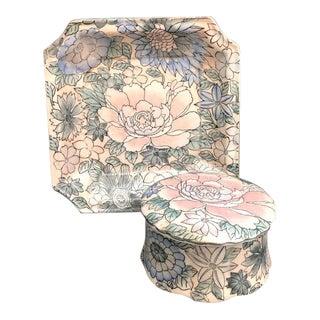 Pastel Floral Ceramic Lidded Box & Dish Set - 2 Pieces For Sale