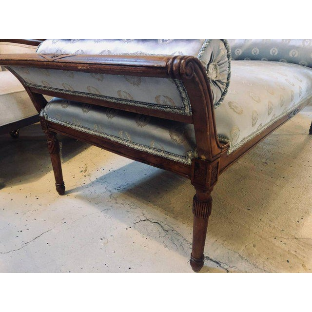 Fine Louis XVI Style Chaise Longue in Celeste Blue Upholstery For Sale - Image 10 of 13