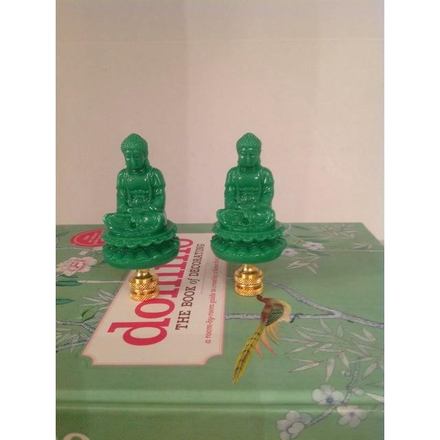 Green Chinese Buddha Shaped Lamp Finials - a Pair - Image 4 of 4