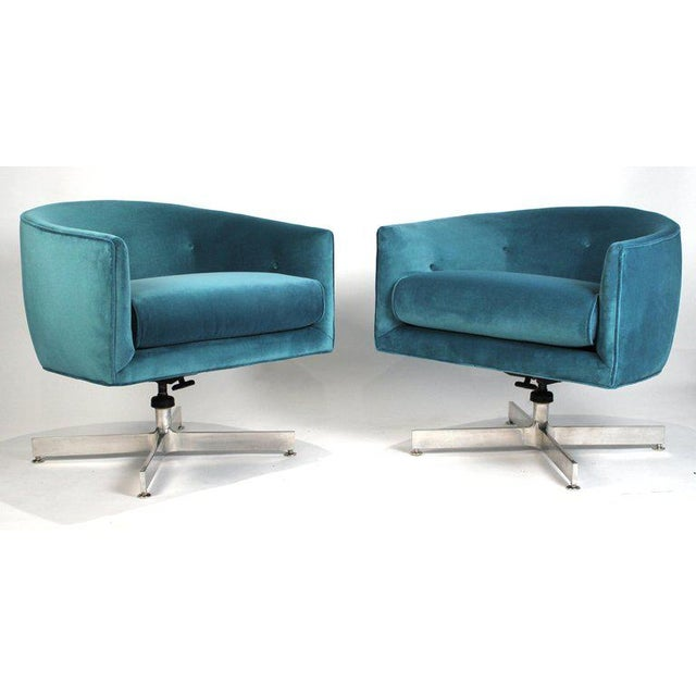 Milo Baughman tilt and swivel lounge chairs for Thayer Coggin fully restored with new webbing, foam and aquamarine velvet...