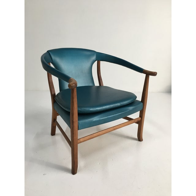 Mid-Century Walnut Ming Horseshoe-Style Slipper Armchair For Sale - Image 13 of 13