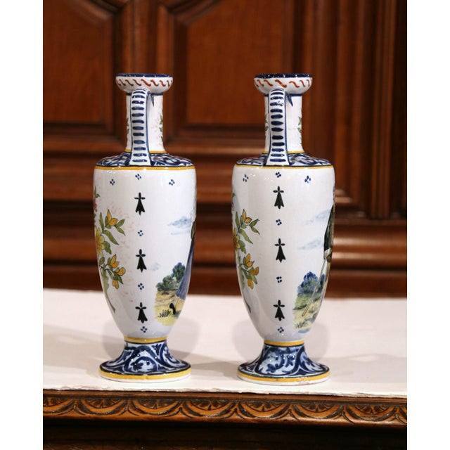 19th Century French Hand-Painted Brittany Vases Signed HB Quimper - a Pair For Sale In Dallas - Image 6 of 13