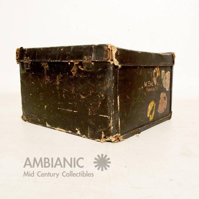 Americana Black Canvas Travel Case / Box With Leather Handle For Sale - Image 3 of 10