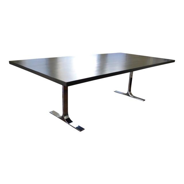 Custom Ebony Wood Table With Polished Steel Legs - Image 1 of 10