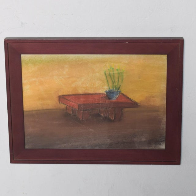Impressionist Pastel Paper Drawing Table - Still Life by P. Romo For Sale - Image 3 of 6