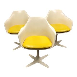 1960s Mid-Century Modern Three Burke Inc. Tulip Dining Chairs - Set of 3 For Sale