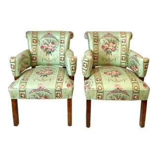 Lee Jofa Green Floral Upholstered Chairs - A Pair For Sale