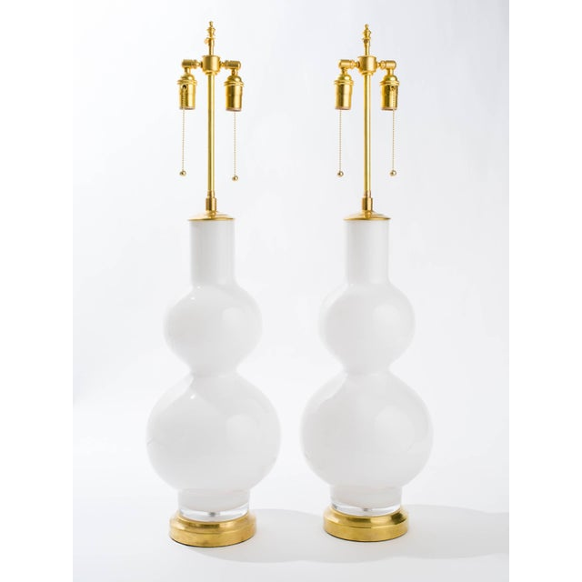 Metal Large Italian Pair of White Glass Lamps For Sale - Image 7 of 8