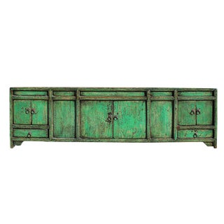 Chinese Distressed Avocado Green Low Tv Console Table Cabinet For Sale