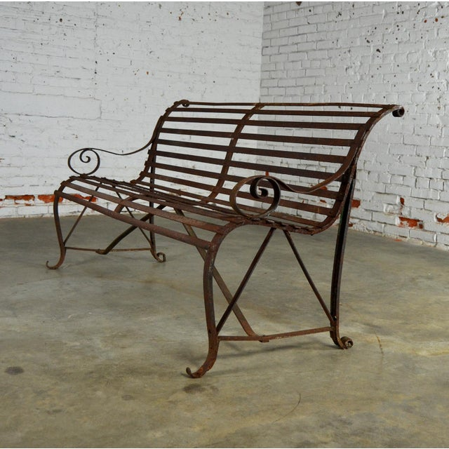 Antique 19th Century Forged Strap Iron Garden Bench For Sale - Image 9 of 10