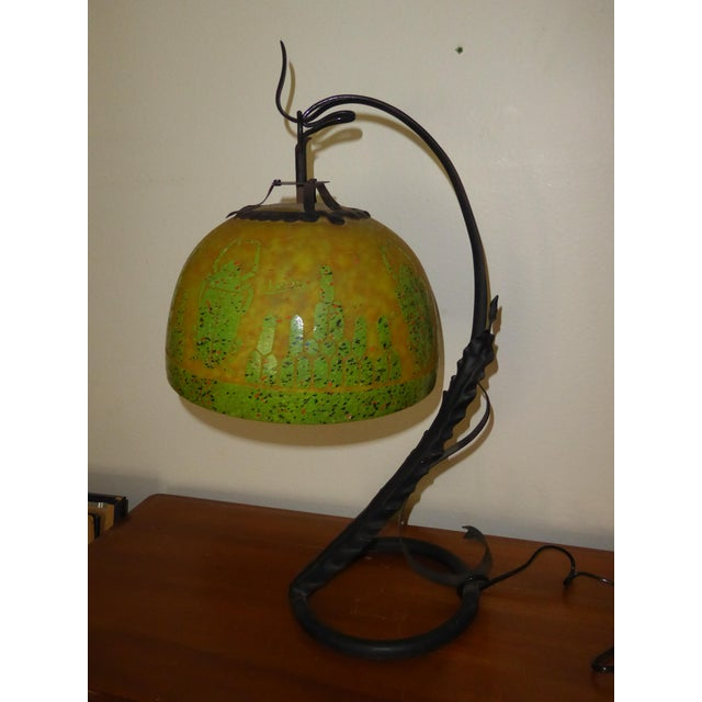 1970s Art Deco French Cameo Glass Green Table Lamp Light by Charder ~Charles Schneider For Sale - Image 5 of 10