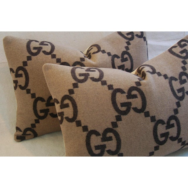 """23"""" X 16"""" Custom Tailored Gucci Cashmere & Velvet Feather/Down Pillows- Pair - Image 6 of 10"""