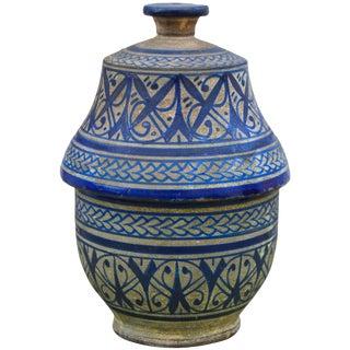 Blue Arabesque Lidded Bowl For Sale