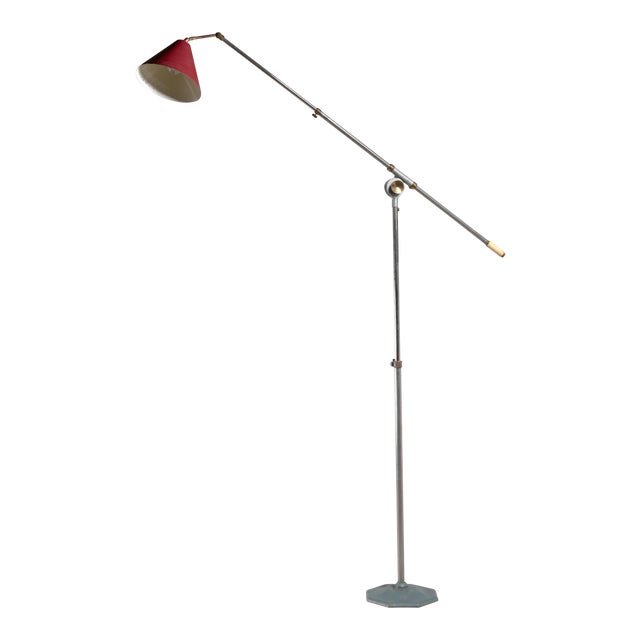 Large 1950s adjustable metal floor lamp that can reach to 155 inch height For Sale