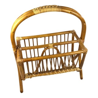 Mid Century Modern Bamboo Rattan Magazine Holder Rack For Sale