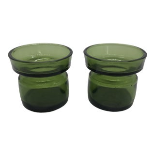 Jens Quistgaard Dansk Green Glass Candle Holders - a Pair For Sale