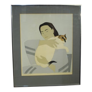 """""""Woman & White Cat"""" Print by Will Barnet For Sale"""