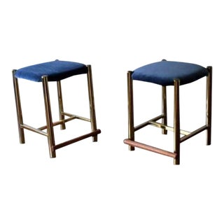 Vintage Mid Century Hollywood Regency Cal-Style Stools - a Pair For Sale