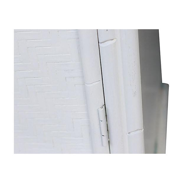 Faux-Bamboo White-Painted Cabinet - Image 4 of 7
