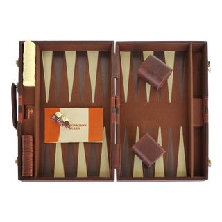 Mid-Century Backgammon Set W/ Leatherette Travel Case by Skor -Mor For Sale