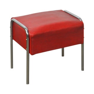 Gibbschrome Vintage Art Deco Style Chrome & Red Vinyl Stool For Sale