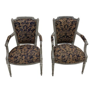 Painted French Armchairs With Fortuny Upholstery For Sale