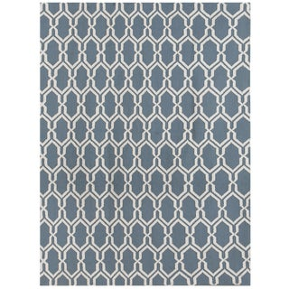 Zara Trellis Blue Flat-Weave Rug 8'x10' For Sale
