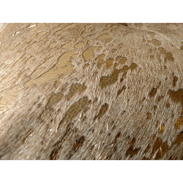Modern Gambrell Renard Metallic Gold Cowhide Ottoman For Sale - Image 3 of 5