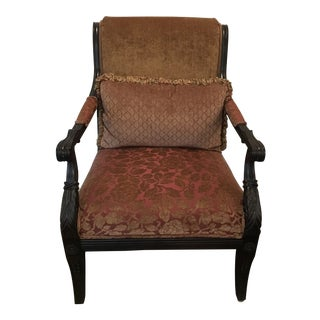 Carved Wood Chair Upholstered Arm Chair For Sale