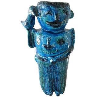 Vintage Mid-Century Bitossi Aldo Londi Italian Pottery Heavy Sailor Vase For Sale
