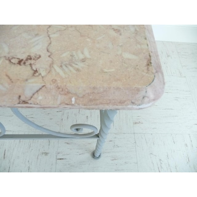 Vintage French Iron & Marble Top Coffee Table - Image 8 of 9