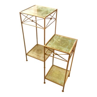 Boho Chic Korkoro Studio Painted Wrought Iron Occasional Tables - 2 Pieces For Sale