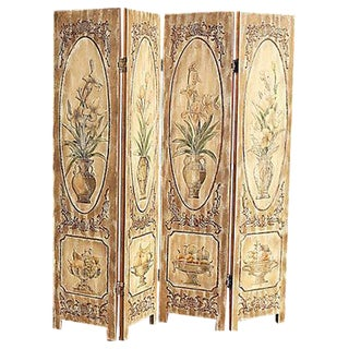 Carved Wood Room Screen For Sale