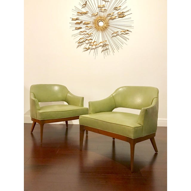 Green Harvey Probber Mid Century Modern Low Club Chairs or Lounge Chairs - a Pair For Sale - Image 8 of 9