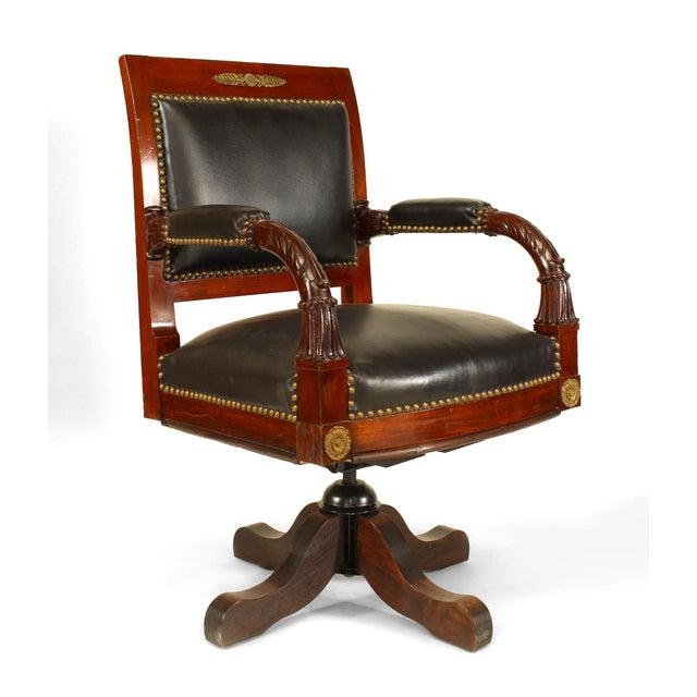 French French Empire Black Leather Swivel Chair For Sale - Image 3 of 4