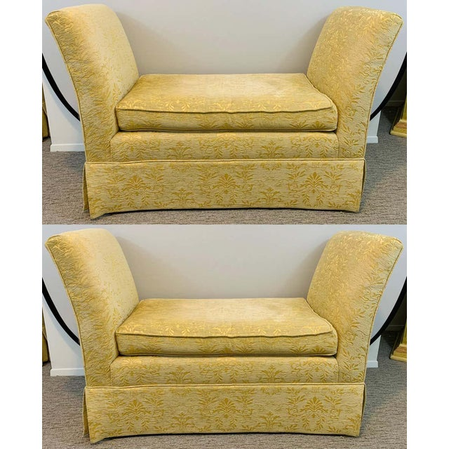French Art Deco Style Yellow Gold Bench or Window Seat After Dominique, a Pair For Sale - Image 13 of 13