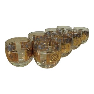 Vintage Mid-Century Hollywood Regency Double Old Fashioned Bar Glasses - Set of 8 For Sale