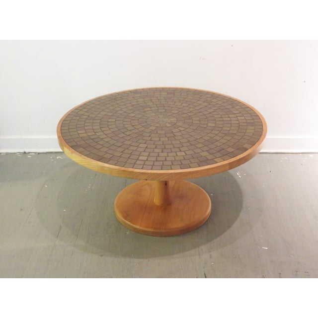 Vintage Round Martz Tile Top Coffee Table - Image 2 of 7